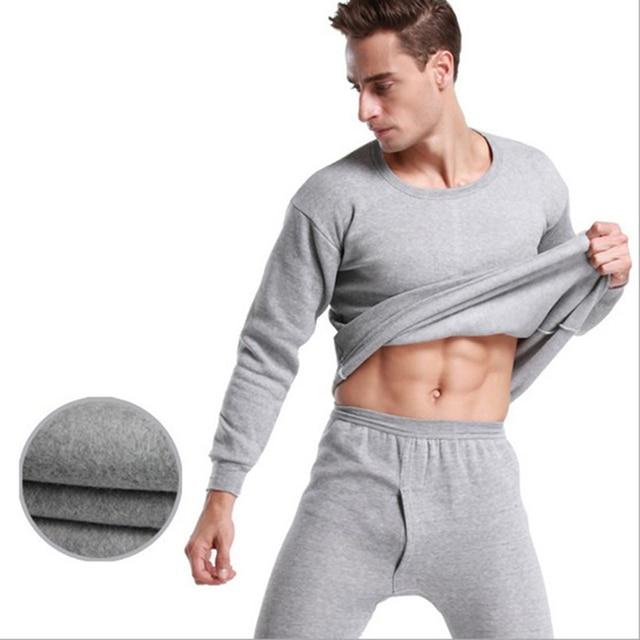 O-neck long johns thermal underwear winter men thermal underwear thick plus velvet long johns set  size M-4XL