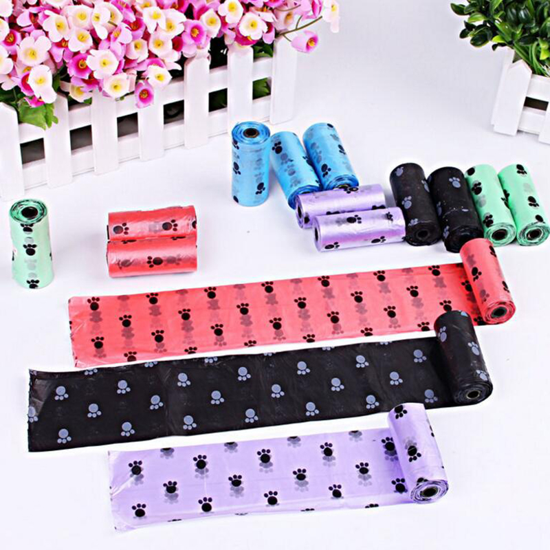 10roll/150pcs Degradable Pet Dog Waste Poop Bag With Printing Doggy Bag Pet Waste Clean Poop Bags Multi Color