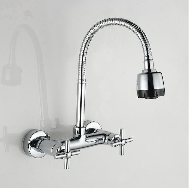 Free Shipping brass wall mounted Kitchen faucet chrome hot & cold single lever kitchen sink basin faucet tap mixer basin faucet kitchen faucet basin hot