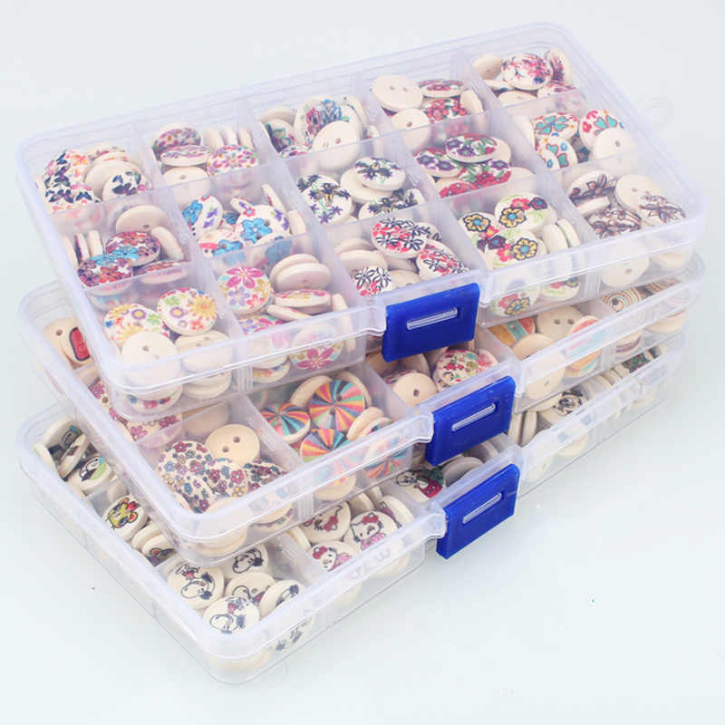 Big Discount!225pcs Print 2 Holes Wooden Buttons with storage box 15 style decorative buttons for clothing sewing accessories