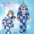 Hero Catcher High Quality Lovelive Aqours Costume Watanabe You Costume Watanabe You bathrobe Lovelive Aqours Kimono Blue Kimono
