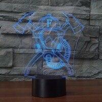LED Bombero Máscara Botón Táctil Lámpara de Mesa de Forma 3D 7 Colores Cambiantes Luces de La Noche del USB de La Novedad Regalos de Decoración Del Dormitorio Luminaria