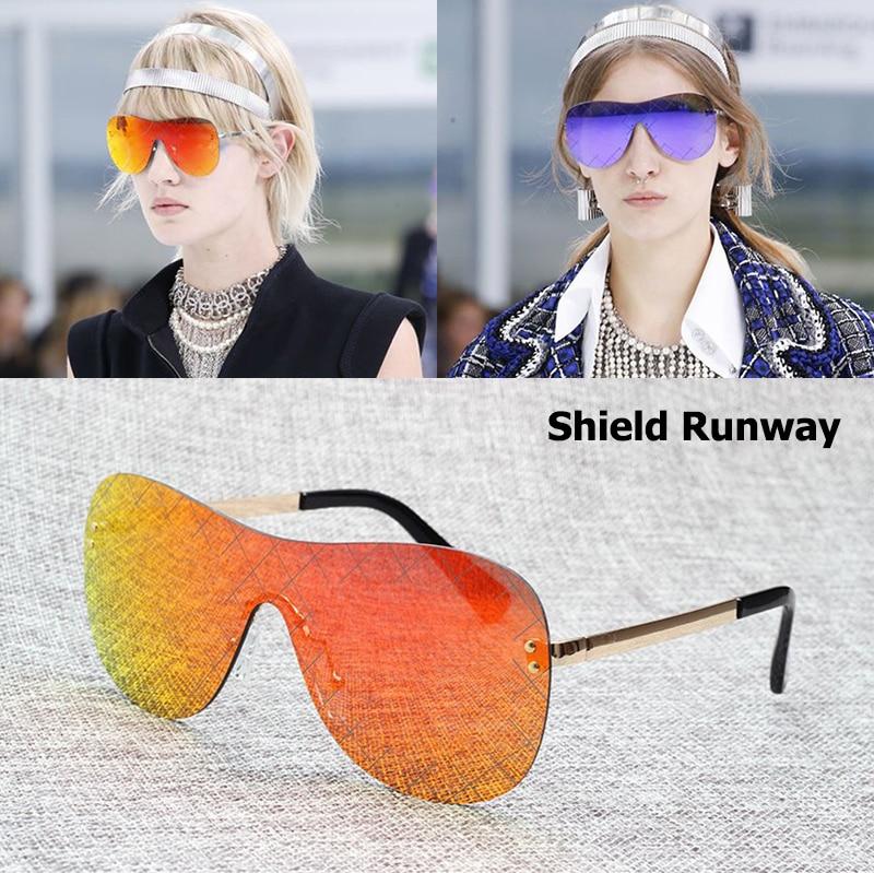 JackJad Fashion Show Δρομολόγια Γυαλιά ηλίου διαδρόμου ασπίδων Γυναίκες Σχεδίαση μάρκας Χαρακτική Χρώμα φακού Γυαλιά ηλίου Oculos De Sol Feminino
