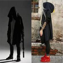 Новая Осенняя мода хип хоп мантия толстовки кофты для мужчин женщин черное платье куртка с длинным рукавом плащ пальто для