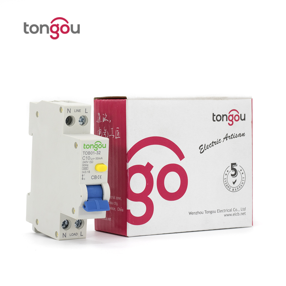 18mm RCBO ELCB 10A 30ma 1P+N Residual Current Circuit breaker with over current and Leakage protection 18mm rcbo 32a 1p n residual current circuit breaker with over current and leakage protection 30ma