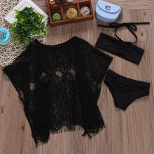 3PCS Girls Summer Beach Bathing Halter Bikini Set Swimsuit Swimwear Lace Floral Loose Dress Outfits