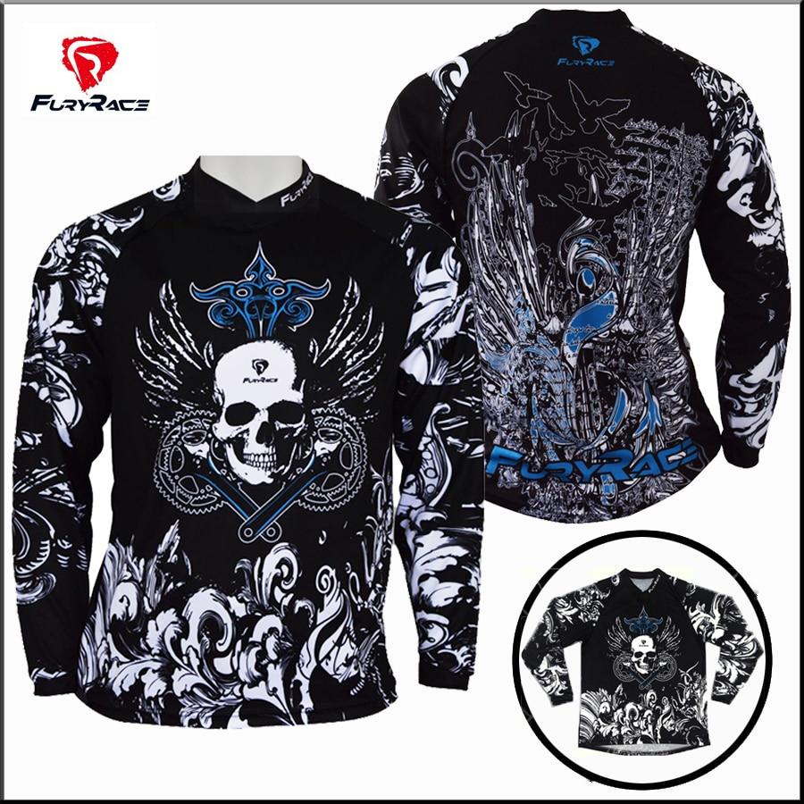 Design t shirt motocross - Fury Race Skull Black Moto Motocross Shirt Bmx Motorcycle Jersey Cycling Men Mtb Dh Mountain Bike