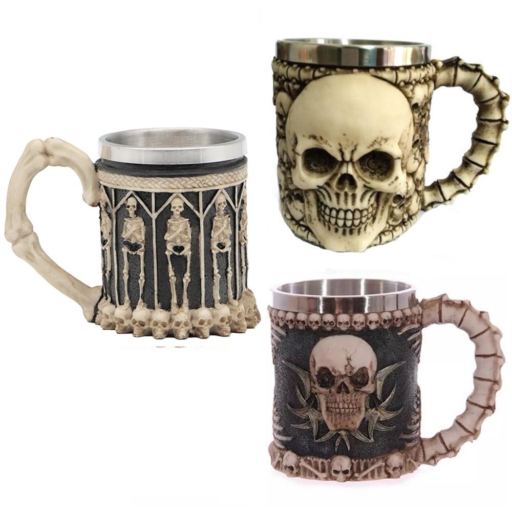 Skull Tankard Coffee Mug Cup Cool Stainless Steel Tea Mug Cup For 3D Design Mugs