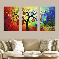 3 Panel Canvas Paintings Large Size Wall Decoration Pictures Apple Money Tree Handmade Modern Abstract Canvas Wall Art Unframed