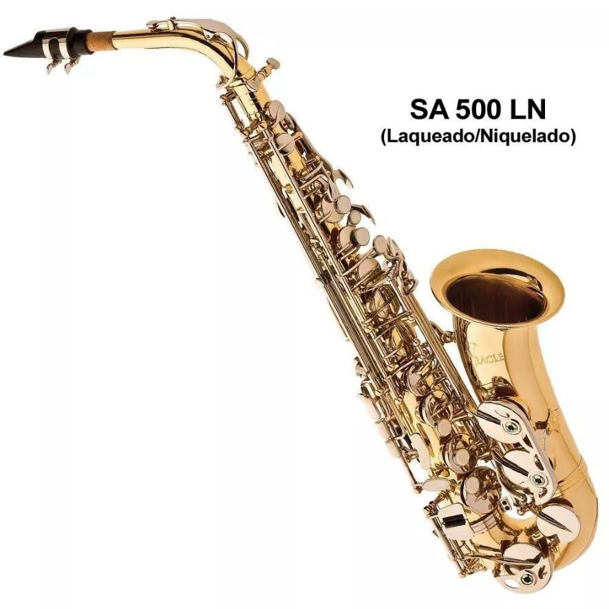 Saxophone Alto Eagle Brand SA 501 Gold Lacquered Sax in Eb Tune + Accessories case, gloves, reeds, straps