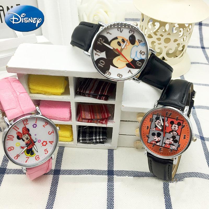 Disney Teen Original Genuine PU Quartz Children FashionMickey Mouse  Watchs Girls Cartoon Student WatchWomen Anime Clock