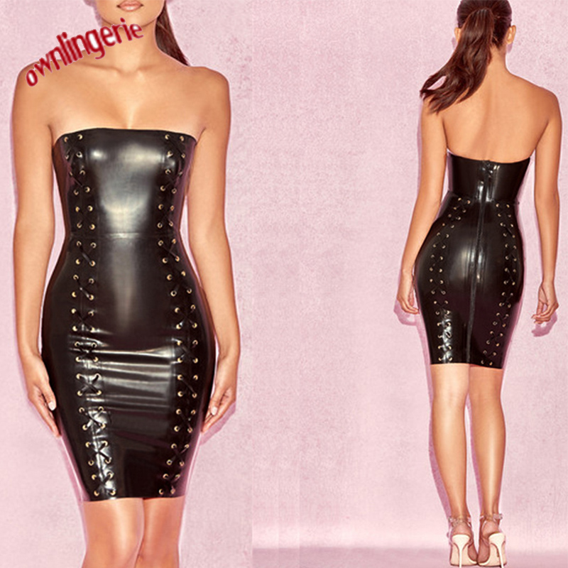 Sexy PVC Wet Look Women Leather bandaged Dress Nightwear push up bodycon Fetish off-shoulder Dress with zipper Glossy Catsuit
