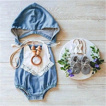 Cute 0-4Y Newborn Baby Toddlers Girls Jean Hooded Bodysuit Jeans Summer Playsuit Cotton Outfits