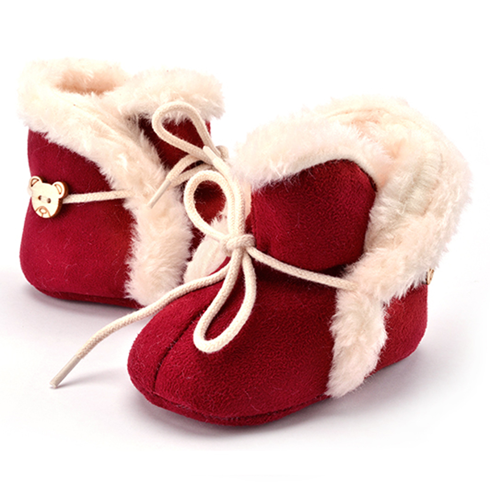 Baby Crib Shoes First Walker Boots Girls Snow Boots Infant Solid Bowknot Shoes Prewalker Baby Winter Shoes White Pink Red