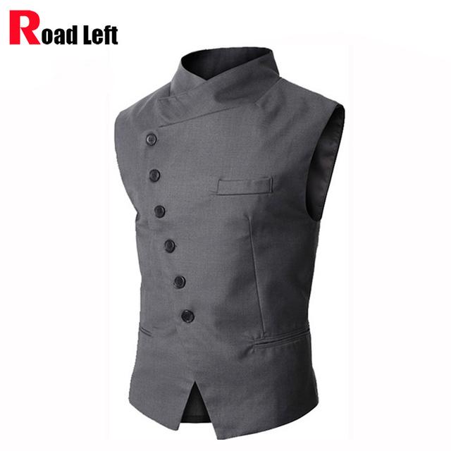 Vestido Estilo britânico Men Suit Vest Slim Fit Business Casual Mens Jaqueta Gola Banquete Formal de Colete Gilet Coletes Hombre