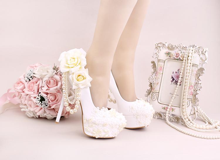 9_Women Dress Shoes For Wedding White Pearl Lace Flowers Bridal High Heel Platform Pumps 10cm 12cm 14cm Stilettos Footwear Online