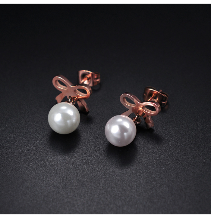 YUN RUO Brand Rose Gold Color Bowknot Pearl Stud Earring for Woman Girl Gift 316 L Stainless Steel Fashion Jewelry Never Fade