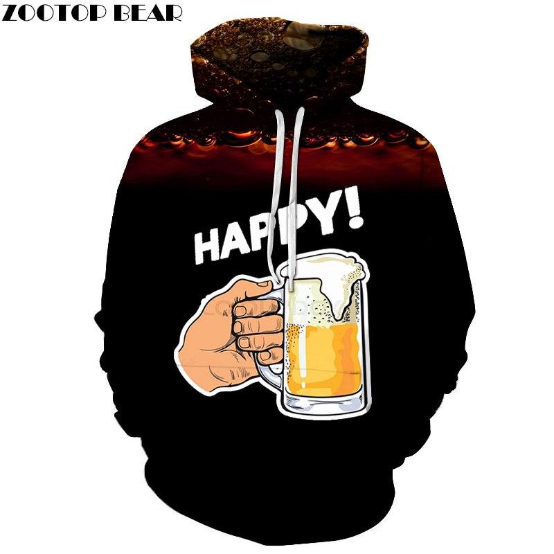 Beer Men Hoodies Black Casual Brand Coffee Cup Tracksuits 3d Hoody Headscarf Pullover Streetwears Sweatshirt DropShip ZOOTOPBEAR