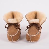 Baby Winter Boots Shoes Fur Sheepskin Genuine Leather Infants Warm Real Fur Wool First Walkers Newborn Girls Boys Booties