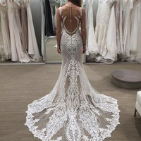 Vestido De Festa Elegant Mermaid Evening Dress Long Scoop Floor Length Appliques Pleat White Lace