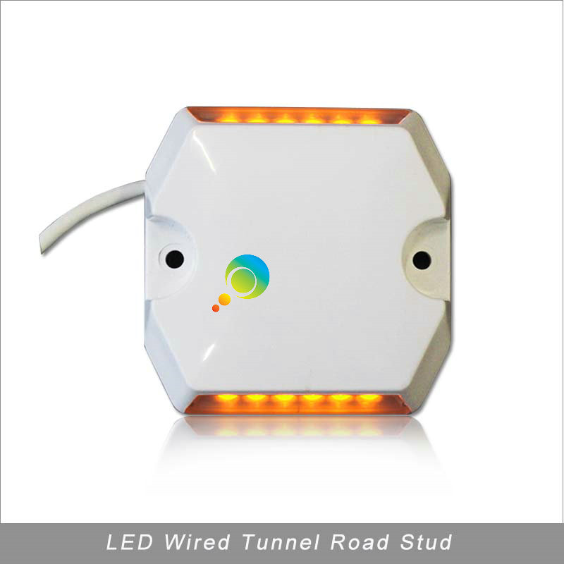 DC12V Or DC24V Yellow LED  Light Tunnel Wired Road Stud Plastic Shell Waterproof Road Marker For Sale