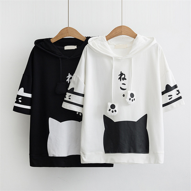 Spring Summer New Women's Loose Hoodies Large Size Cute Cartoon Cat Pullovers Women Hooded Short Sleeve Casual Tops