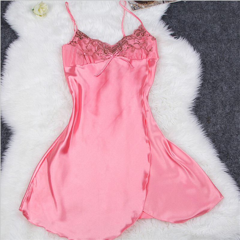 2fd8955a3a Silk satin nightwear peignoir femme satin nightgown set Imitation Women  Sleepshirt Nightwear Soft Pijamas Female Summer Dress en Traje y Del  Vestido de Ropa ...