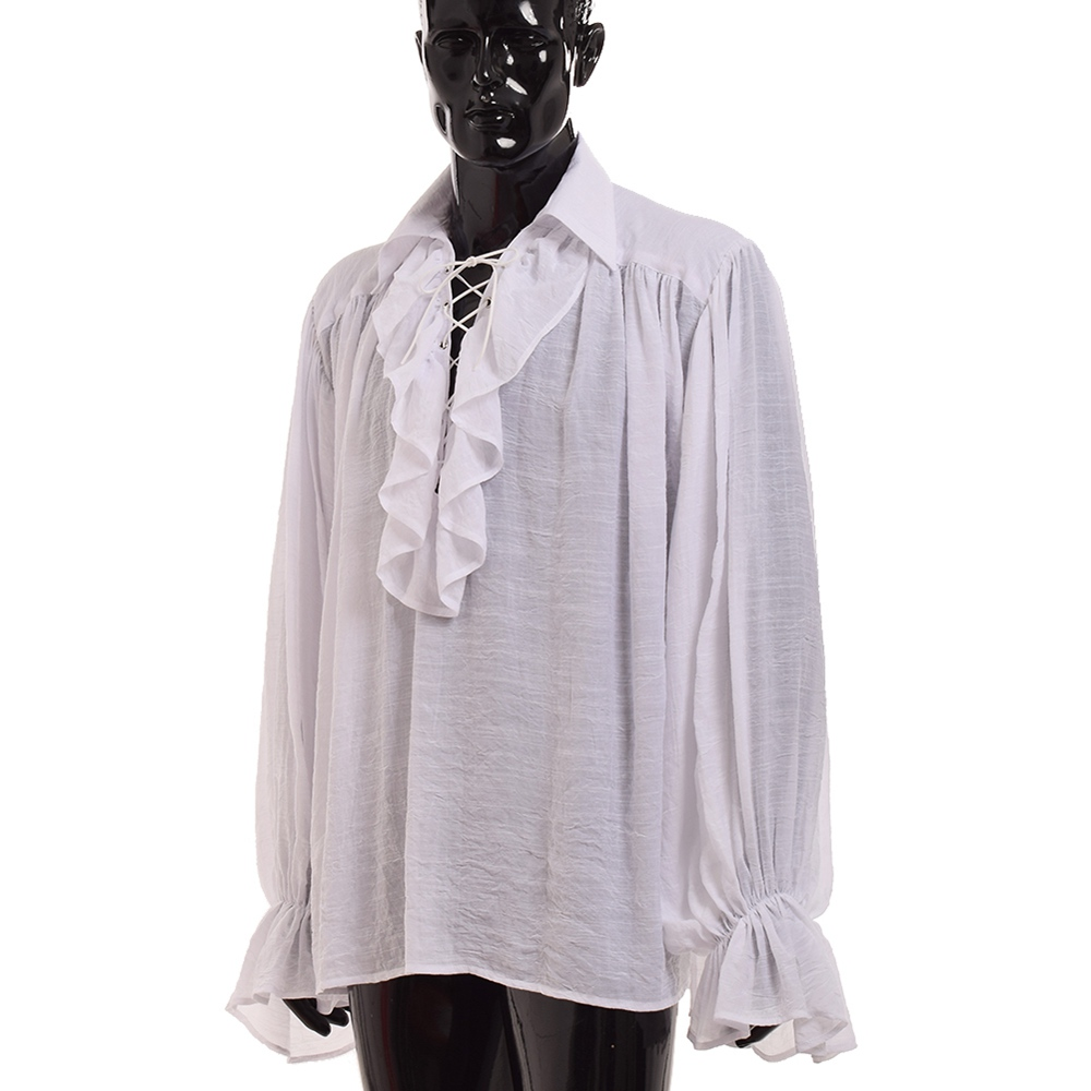 Men White Ruffled Jabot Renaissance Medieval Poet Pirate Vampire Colonial Gothic Shirt Tops Накомарник