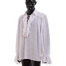 빈티지 중세 셔츠 남자 르네상스 시인 화이트 블랙 스코틀랜드 뱀파이어 식민지 주름 Jabot 블라우스 긴 소매 해적 셔츠