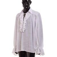 Vintage Mężczyźni Biały Potargane Koszula Medieval Renaissance Poeta Vampire Colonial Pirate Jabot Bluzka Z Długim Rękawem Odzież