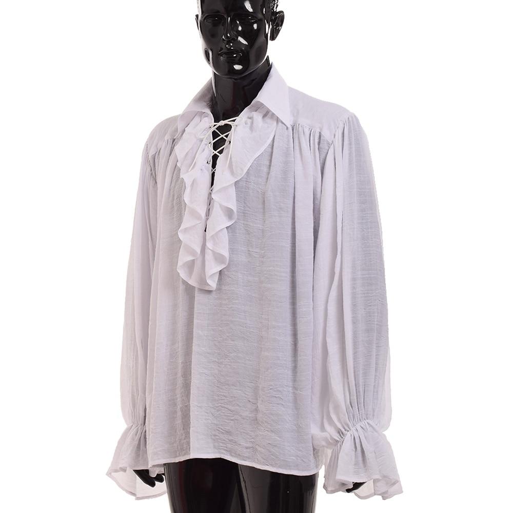 Buy Vintage Men White Ruffled Pirate