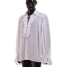 Vintage średniowieczna koszula mężczyzn renesansowy poeta biały czarny szkocki wampir kolonialne Ruffles Jabot bluzka z długim rękawem koszule pirackie