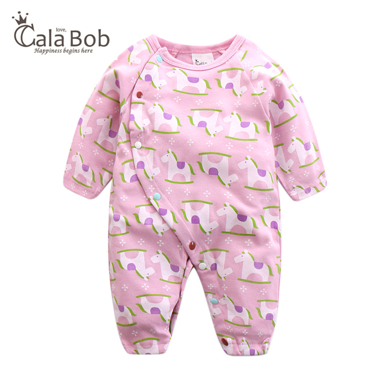 CalaBob Newborn Baby Romper Cartoon Horse Baby Boy Girl Clothes Long Sleeve Cotton Sleepwear Jumpsuit Baby Rompers Costume infant clothing baby romper baby clothes of baby boys girl jumpsuit long sleeve 100% cotton sleepwear baby rompers