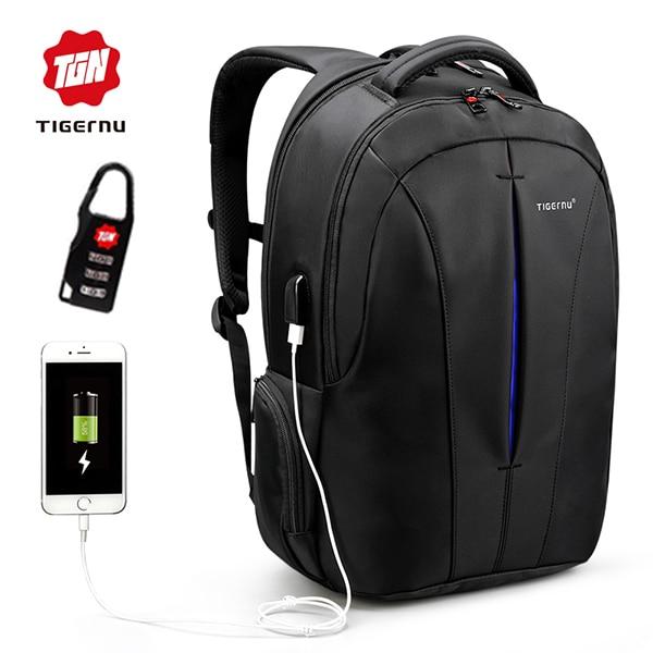 Tigernu Nylon Backpack Men's Backpack 15.6 Inch Laptop Mochila USB chargin Backpacks Male Escolar Waterproof рюкзак waterproof nylon backpack 10 travelbag mochila aimi919