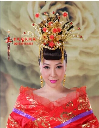 Gorgeous Chinese Ancient Empress Hair Tiaras Crown Piece 00008 red gold bride wedding hair tiaras ancient chinese empress hair piece