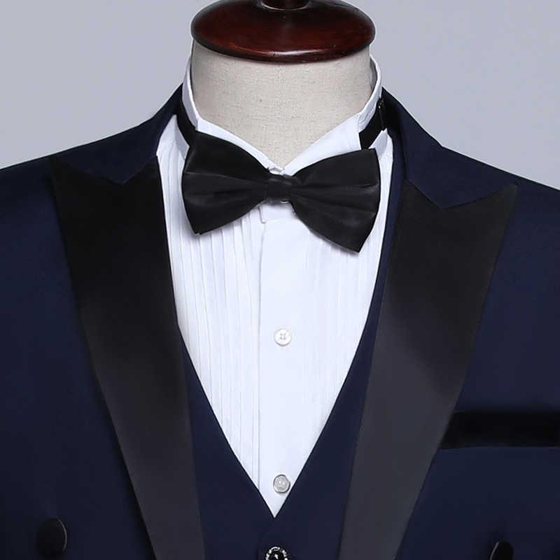 PYJTRL Männlichen Klassischen Schwarz Weiß Navy Blau Frack Smoking Hochzeit Bräutigam Anzüge Für Männer Party Prom Bankett Bühne Sänger Kostüm
