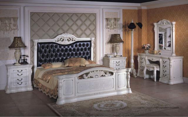 Manual de cama Clásica de madera Maciza Tallada cama de madera maciza
