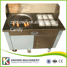 Puerto Rico 110V ice cream roll machine double compressors with one pan and 6 topping