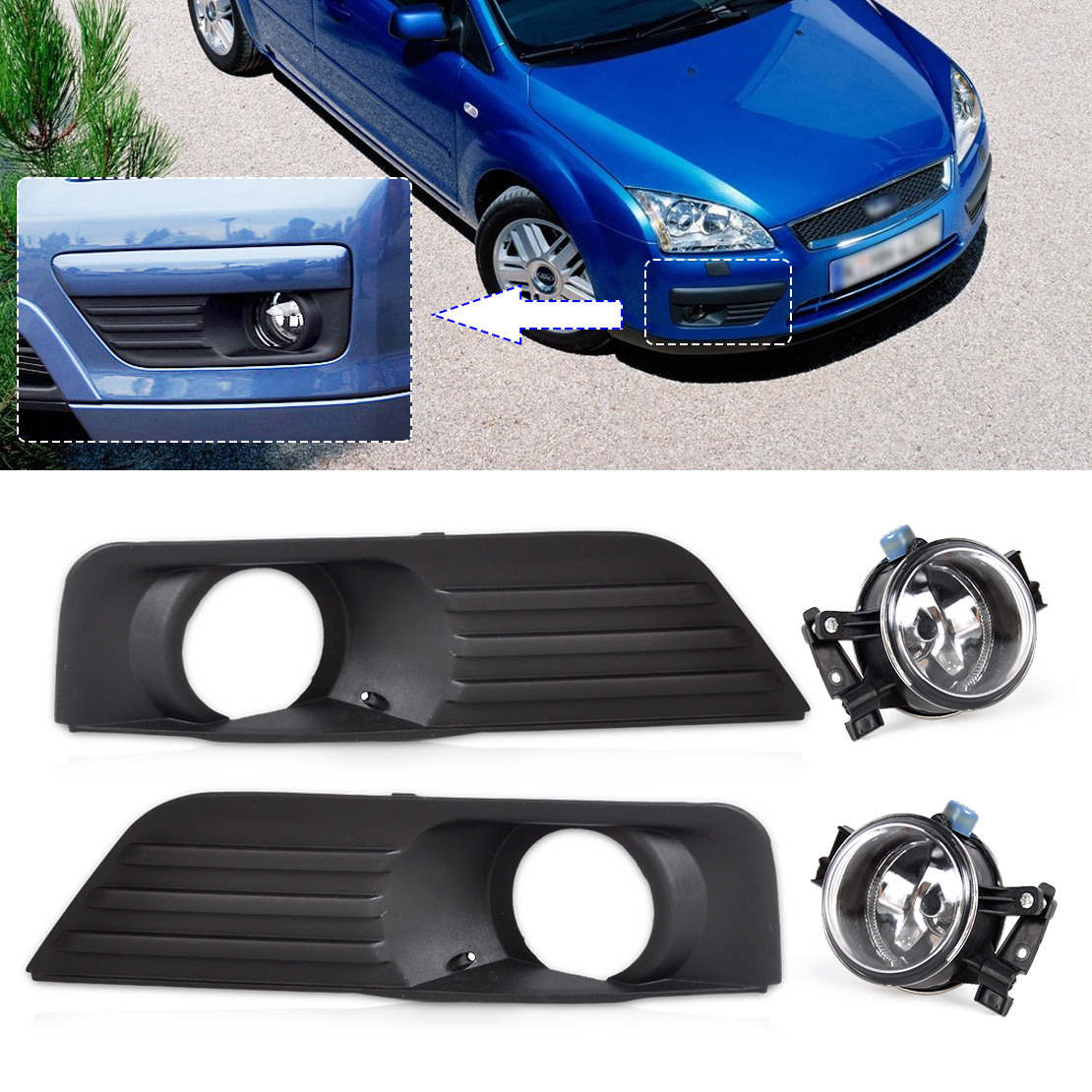 ФОТО DWCX 4M51-19952-A 3M51-15K201-AA 3M51-15K202-AA Front Lower Bumper Fog Light Grille + Lamp Kit Set For Ford Focus 2005 2006 2007