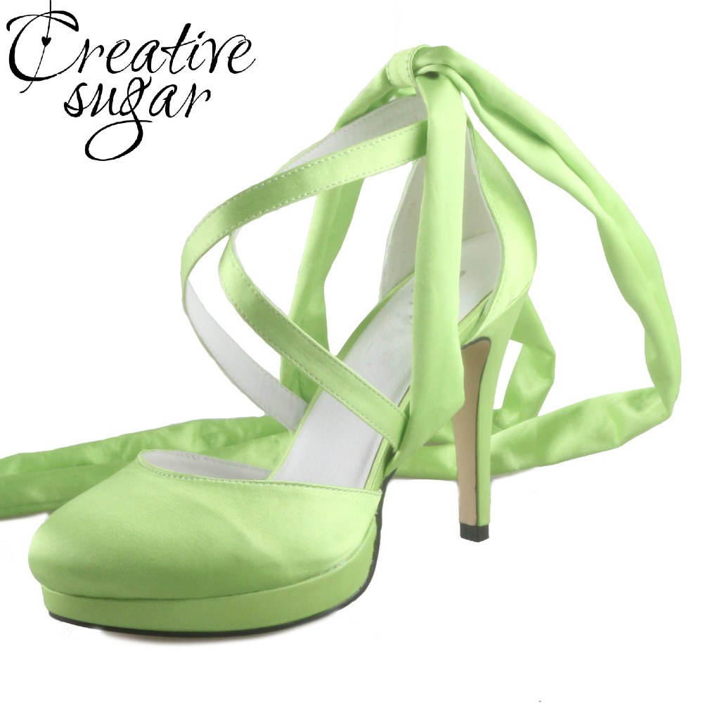 Creativesugar Handmade fruit green leg wrap crossed bands lady evening dress satin shoes bridal wedding party cocktail pumps creativesugar handmade teal peacock blue long tulle bridal shoes soft gauze leg strap forest fairy tale wedding party lady pumps