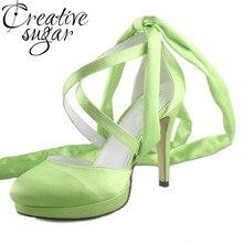 Creativesugar Handgemachte obst grün bein wrap gekreuzte bands lady abendkleid satin brautschuhe hochzeit pumpen