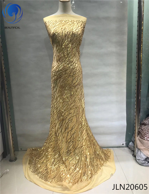 BEAUTIFICAL gold lace fabric sequin fabric gold french net lace african lace fabric 2018 high quality lace 5yards/piece JLN206