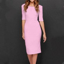 цены Women Half Sleeve Thin Dress Casual O-Neck Pencil Dresses Summer Solid Knee-Length Party Dresses