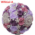 Romantic Customized Purple Crystal Peacock Bridal Bouquets Brooch Diamond Artificial Flowers Silk Rose Stitch Wedding Bouquets