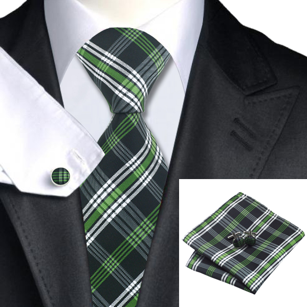 2016 Fashion White Black Green Plaid Tie Hanky Cufflinks
