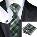 2016 Fashion White Black Green Plaid Tie Hanky Cufflinks 100% Silk Neckties Ties For Men Formal Business Wedding Party C-906