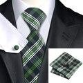 2016 Moda Verde Preto e Branco Plaid Tie Hanky Abotoaduras 100% gravata de Seda Gravatas Gravatas Para Homens de Negócios Formal Wedding Party C-906