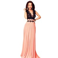 V Neck Lace Bodice Contrast Floor Length Long Dress 2016 Women Fashion Maxi Party Prom Gowns