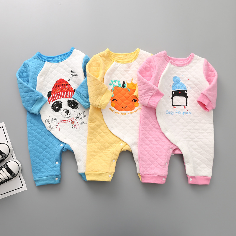 Winter Newborn Long Sleeve Cotton Baby Rompers Cartoon Jumpsuit for Baby Boys Girls Soft Warm Overalls Brand Infant Kids Clothes