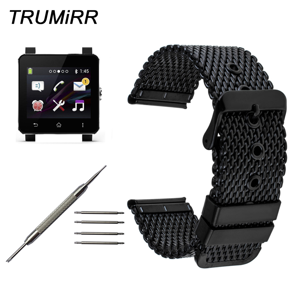 24mm Stainless Steel Watchband + Tool for Sony Smartwatch SW2 Milanese Watch Band Replacement Wrist Strap Bracelet Black Silver 24mm silicone rubber watch band for sony smartwatch 2 sw2 replacement watchband strap bracelet with stainless steel clasp buckle
